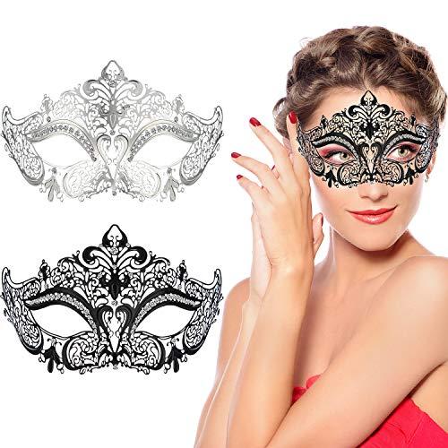 Gejoy Máscaras de Mascarada de Metal Máscaras de Disfraces Venecianas Brillantes de Mujer para Baile de Fiesta