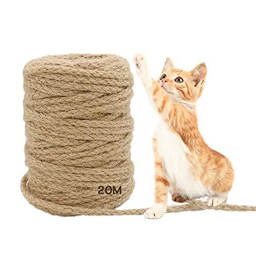 MEISHANG 20 m Seil für Katzenbaum,Natural Sisal Seil,Katzen Natürlich Sisal Seil,Katzen Zubehör Kratzbaum,Seil für Kratzbaum,Natürliches Sisalseil,Sisalseil für Kratzbaum (20m)