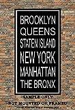 New York City Boroughs Subway Sign Print - Brooklyn, Queens, Manhattan, The Bronx, Staten Island - Multiple Sizes