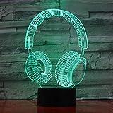 lampara 3D Pared Lámpara Colorida para Auriculares Luz Nocturna Lámpara de Noche 16 Cambios de Color Interruptor táctil y Remoto Navidad