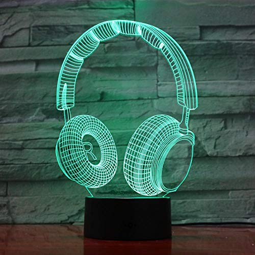 Colorful Headphone Touch 3D Lamp Led Night Light USB Table Lamp for Children Baby Kids Gift Bedside Bedroom 3D Lamp 962