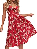 FANCYINN Kleid Damen Sommer Knielang Dekoltee V-Ausschnitt Sommerkleid Midi Träger Rückenfreies A-Linie Kleider Strandkleider Rot