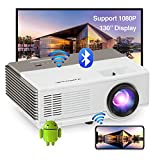 Portable Movie Projector with WiFi Bluetooth, Wireless Screen Mirror Mini Smart Outdoor Video Projector Full HD 1080P Support Home Theater Keystone&Zoom for Smartphone/TV Stick/Laptop DVD/PS4/HDMI/USB