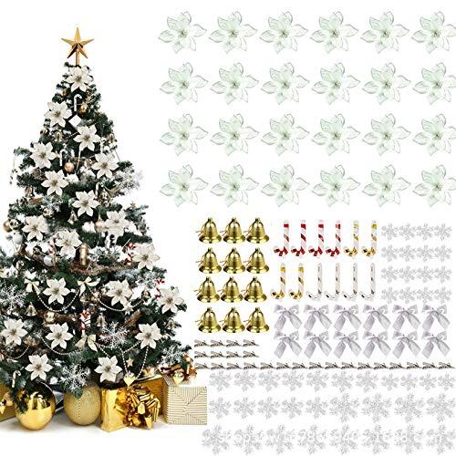 120 Piezas Flores Brillo Navideño, Adornos Decorativos para árboles Navidad Incluidos 24 Flores Nochebuena con Brillo Artificial 24 Clips 12 Lazos 12 Campanas 12 Muletas 36 Copos de Nieve (Silver)