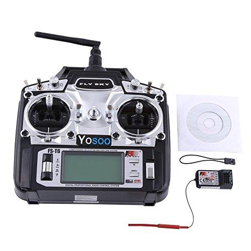 GOTOTOP Flysky FS-T6 Radio Control Remoto de Mano 2.4 GHz 6 Canales RC Transmisor Mando a Distancia + Receptor MK