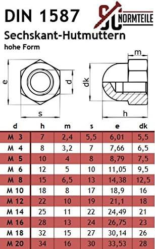 50 St/ück - SC603 // SC1587 Flachrundschrauben // Schlossschrauben mit Hutmuttern hohe Form - M6x55 - - Vollgewinde Edelstahl A2 V2A DIN 603 // DIN 1587