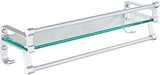 Salle De Bain En Verre Trempé Étagère En Aluminium Support De Rangement Rectangulaire 40/50 / 1 Niveau 60 Cm Silver Sand S...