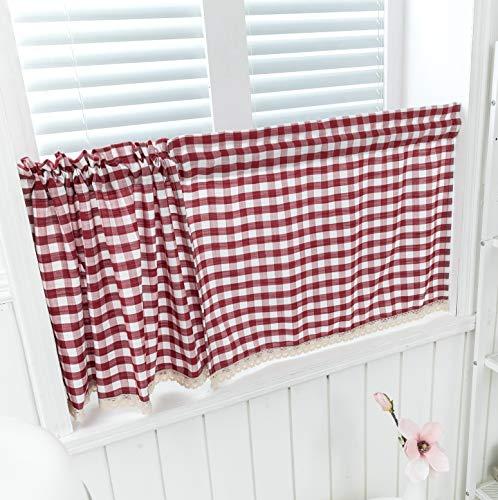 Dreamskull Cortinas cortas, para cocina, cortas, para ventanas, para bistró, estilo rústico, moderno, vintage, a cuadros, juego de 2 (rojo, 74 x 90 cm x 2)