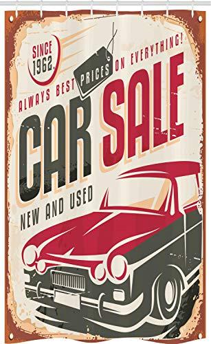 ABAKUHAUS retro Douchegordijn, America Car Sale Sign, voor Douchecabine Stoffen Badkamer Decoratie Set met Ophangringen, 120 x 180 cm, Cream Grijs Rood
