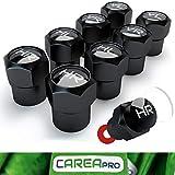 CAREApro  Ventilkappen Auto mit Beschriftung (8er Set) im Rocket-Black-Look mit Dichtung - Intelligente Reifen Markierung - Rostfrei ABS-Kunststoff