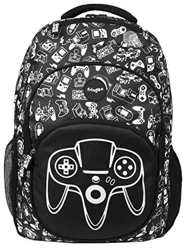 Fringoo - Großer Kinderrucksack für Jungs   Perfekt als Schultasche oder als Reisetasche   Mit Laptoptasche, Fächern und Loch für Kopfhörer - Game On