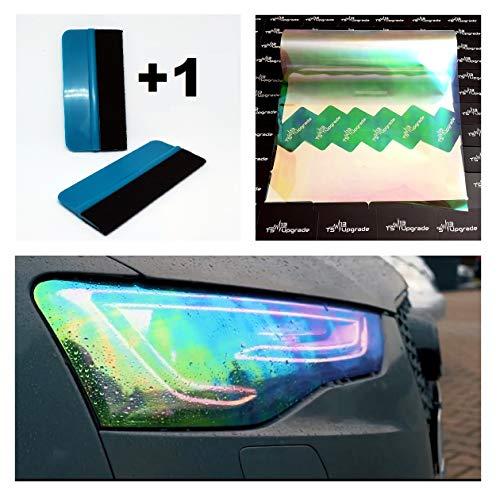 Scheinwerfer Folie Oilslick Transparent 30x400cm Chamäleon Rückleuchten Nebelscheinwerfer Folie Tönungsfolie Tuning Chameleon Rainbow +1 Rakel (30x400cm)
