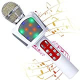 fbamz Kids Karaoke Microphone Machines Toy for 3-12 Year Girls Boys, 5 in 1 Wireless Microphone Bluetooth with LED Lights, Portable Handheld Mic Christmas Birthday Gifts for 5 6 7 8 9 10 11 Year Teens