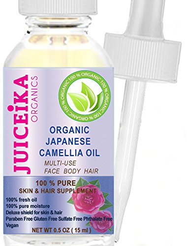 ORGANIC Japanese CAMELLIA OIL - Camellia japonica 100% PURE & REFINED- COLD PRESSED. 100% Pure Moisture. Skin & Hair Supplement. (0.5 Fl. oz. - 15 ml.)