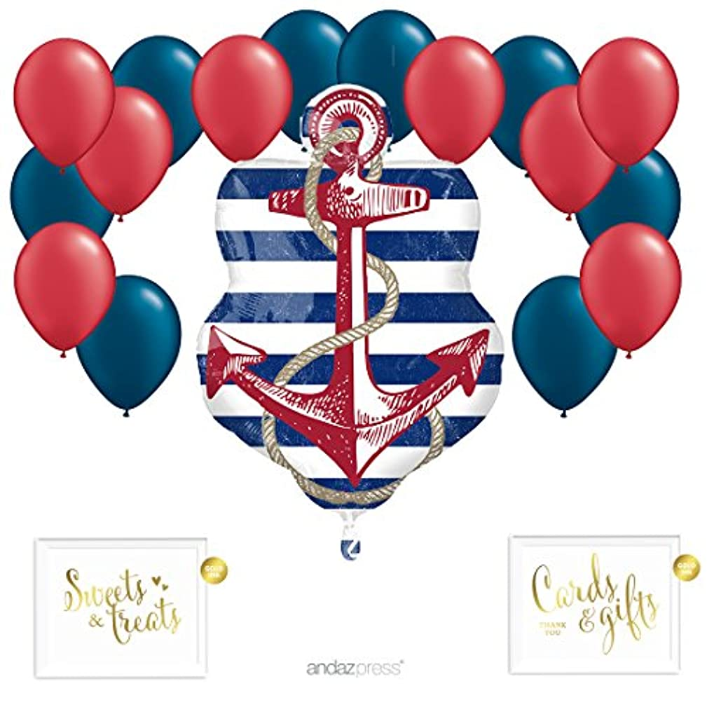 Andaz Press Balloon Party Kit with Gold Ink Signs, Anchor with Red and Navy Blue Latex Balloons, 19-Piece Kit