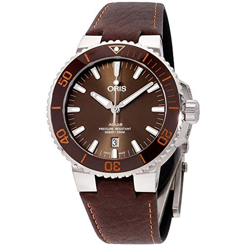 Oris Aquis Date Reloj automático para hombre con esfera marrón 01 733 7730 4152-07 5 24 12EB