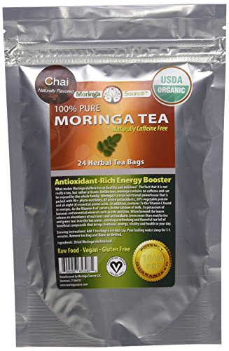 Organic Moringa Superfood Tea-Chai-30 Teabags, 100% Pure, Raw, Potent, Energy Boosting, Non-GMO. Rich in Nutrients, Amino Acids, Anti-inflammatories, Antioxidants and Vegetable Proteins.