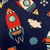 Stoff Meterware Baumwolle blau Cosmic Rakete Ufo Weltall