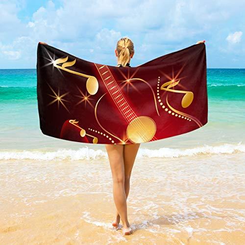 Ahomy Toallas de playa de microfibra para guitarra y notas musicales, toalla...