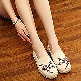 zapatos bordados para mujer Alpargatas de lona bordadas para mujer Pisos hechos a mano para mujer Casual Algodón bordado Mocasines Zapatos sapato feminino zapatillas de bailarina (Color: Blanco, Tam