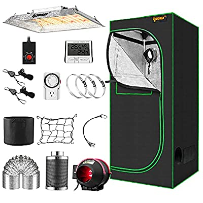 """IPOW Grow Tent Kit Complete 3.3x3.3ft LED Grow Light Dimmable Full Spectrum Indoor Grow Tent Kit 24""""x24""""x55"""" Hydroponics Grow Tent with 4 Inch Ventilation Kit"""