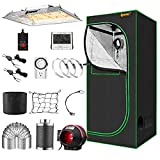 IPOW Grow Tent Kit Complete 3.3x3.3ft LED Grow Light Dimmable Full Spectrum Indoor Grow Tent Kit 24'x24'x55' Hydroponics Grow Tent with 4 Inch Ventilation Kit