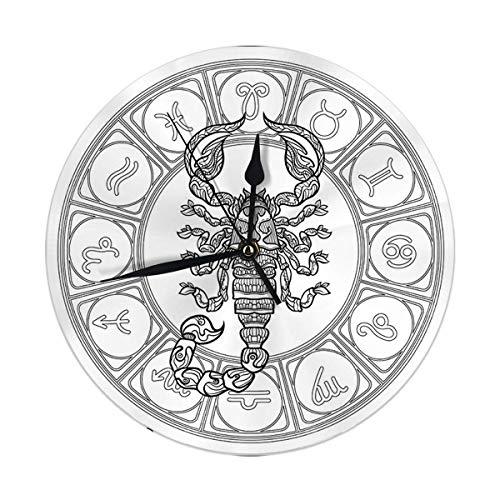 AEMAPE Reloj de Pared Signo del Zodiaco Colección de horóscopo astrológico Reloj Redondo Digital