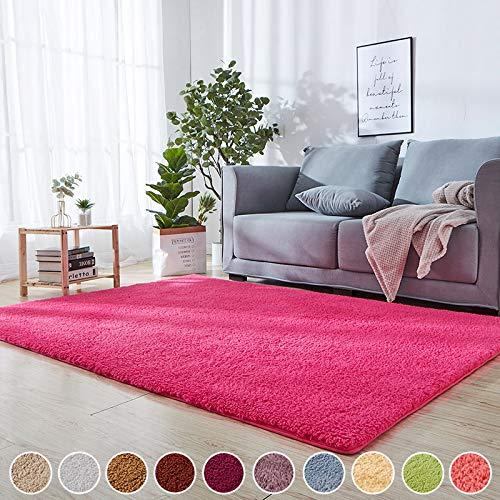 Hochflor Shaggy Teppich Wohnzimmer Dunkelrosa 140 x 220 cm Kinderteppiche Pflegeleicht 8 Rug...