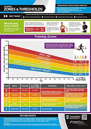 Zonas y umbrales de entrenamiento   Póster laminado para el hogar y el gimnasio   Soporte de entrenamiento en vídeo en línea gratuito   Tamaño – 594 mm x 420 mm (A2)   Mejora el estado físico personal