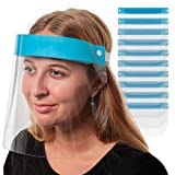 Salon World Safety Face Shields (Pack of 10) - Ultra Clear Protective Full Face Shields to Protect...