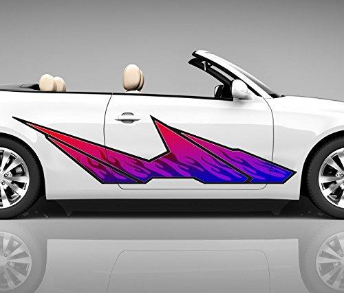 2x zijdecor 3D autosticker paars vlammen digitaal drukzijde auto tuning kleurrijke sticker zijstrepen airbrush racing autofolie Car Wrapping Tribal zijtribal CW207 ca 120x30cm