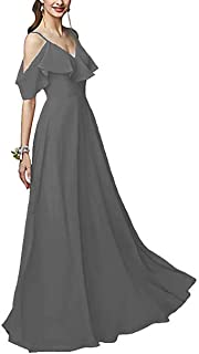 YnanLi Dress Spaghetti Straps Flounce Neck Chiffon Bridesmaid Dresses Long Maxi Skirt