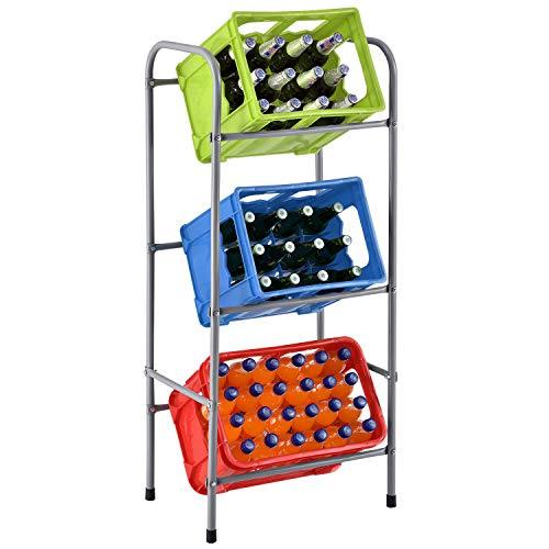 Juskys Getränkekistenregal Cool für 3 Kisten - Metall schmal & platzsparend 50 x 34 x 116 cm - 3 Ebenen Regal Getränkekisten Kistenregal Getränkeregal