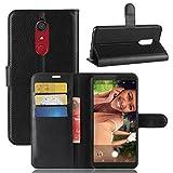 ECENCE Handy-Schutzhülle - Handytasche für Wiko View XL Schwarz - Smarthone Case Cover stoßfest mit Kartenfach - Handycase mit Stand-Funktion 14030108