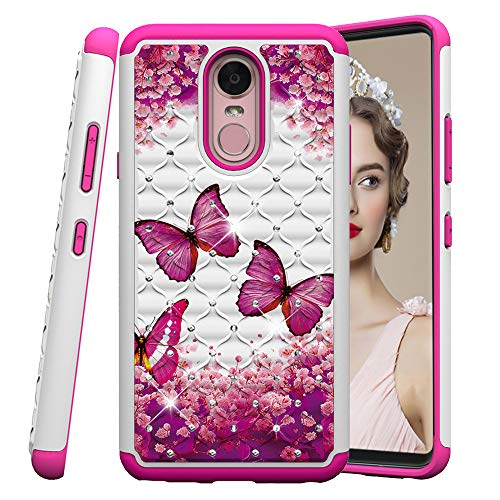 COTDINFOR LG Stylo 4 Hülle Bling Diamond Handyhülle Heavy Duty Protective Dual Layer Silicone Plastic Armor Shock Absorbing Etui für LG Q Stylus. 2 in 1- Red Butterflies YB