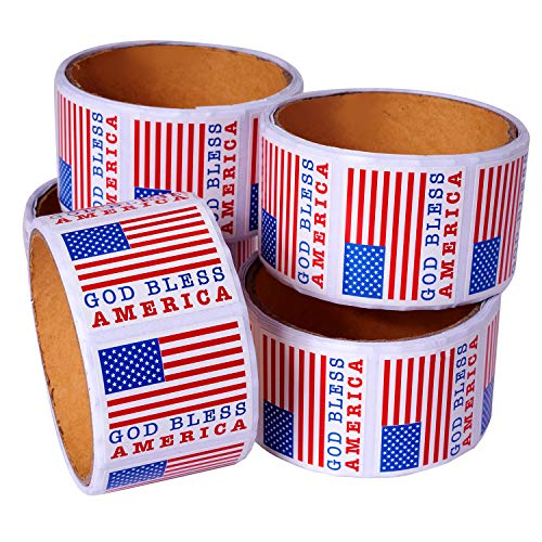 Kicko God Bless America Sticker - 5 Rolls of USA Flag Sheets for The 4th of July, Party Favors, Event, Game Prizes, Novelty Toys, Wall Decals, Creative Scrapbooks, Arts and Crafts
