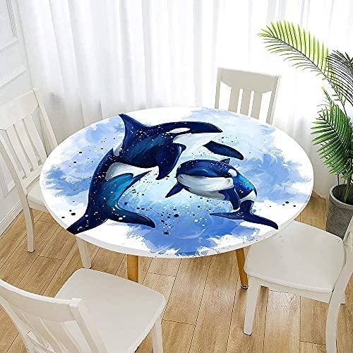 Fansu Impermeable Redondo Mantel con Borde Elástico, 3D Impresión de Delfines Mantel de Mesa Elástica Ajustada Cubierta de Mesa para Picnic Comedor Cocina Restaurante (Pintura,Diámetro 150cm)