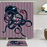 Juego de cortinas de ducha de 2 piezas con alfombra de baño antideslizante,Pulpo Dibujos Animados Vida Marina Resumen...
