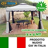 FP-TECH Gazebo da Giardino 3X3 O 3X4 in Alluminio Telo Antipioggia ZANZARIERA E Camino Robusto E ANCORABILE 3 X 3 O 3 X 4 (Gazebo 3x4)