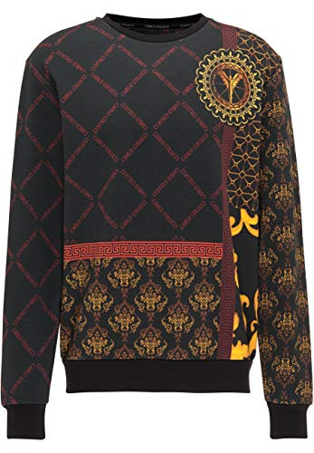 Carlo Colucci Allover-Print Sweatshirt, Schwarz Schwarz L