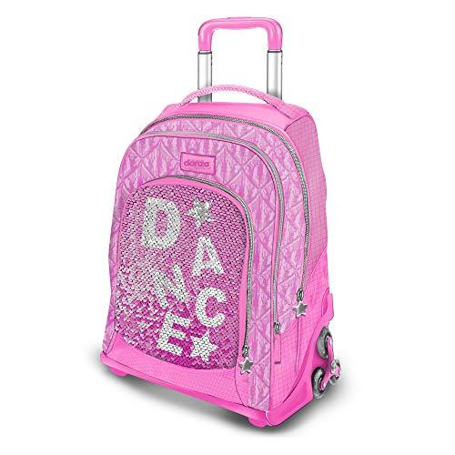 DIMENSIONE DANZA SISTERS, Zaino scuola con paillettes rosa, trolley bambina spazioso con 2 ruote triple e tasca per nascondere gli spallacci, zaino impermeabile, Dimensioni 47x34x23 cm