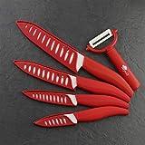 Coltello da chef Coltello da cucina in ceramica Coltelli da cucina Set 3 4 5 6 pollici + peeler Zirconia Blade Blade Blade Fruit Chef Coltello Cooking Tool (Color : Red set)