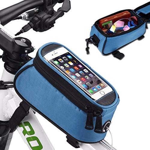 YOPOTIKA Bicicleta de montaña marco delantero bolsa de almacenamiento bicicleta impermeable teléfono móvil titular