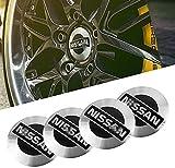 Juego De 4 Tapas Rueda Centro Cap para Nissan Qashqai Juke X-Trail Terrano Kicks 56mm, Emblem Centro Tapacubos, Tapas Impermeable AntióXido DecoracióN Accesorios