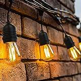 OxyLED LED Lichterkette Außen,S14 Lichterkette Glühbirne LED Retro,15M IP65 Wasserdicht,15X2W LED...