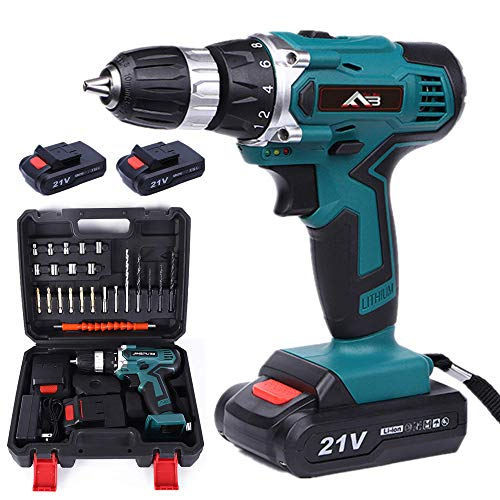 Flybiz 21V 1650/min Professional Industrial Rechargeable Cordless Drill Driver with 2pcs 1500mAh Li-ion Battery, 1 Hr Fast Charger, 2 Speed Compact Electrical Drill with 23 pcs Accessories