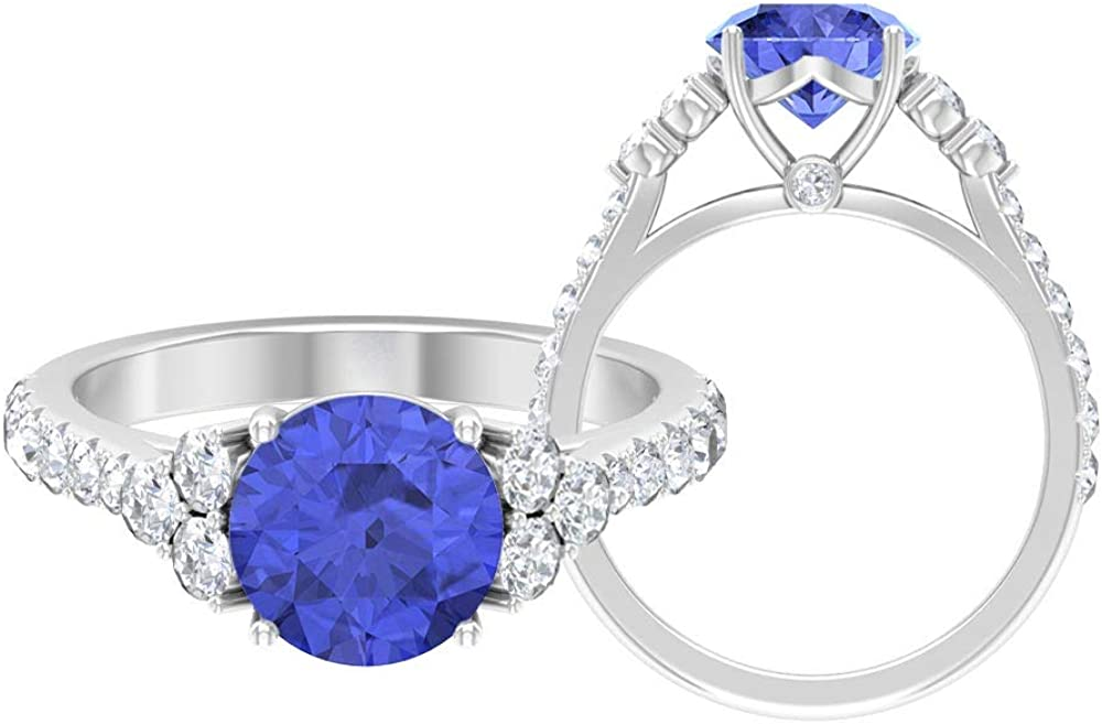 2.5 CT Solitaire Tanzanite Ring, 3/4 CT D-VSSI Moissanite Ring, Gold Engagement Ring (8 MM Round Shaped Tanzanite), 14K Gold