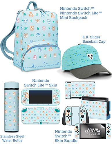 Controller Gear Official Nintendo Animal Crossing: New Horizons Gift Set - Mini Backpack Carry Case, Switch Skins + Screen Protector, Switch Lite Skins, Stainless Steel Water Bottle - Nintendo Switch