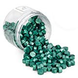 Sello Lacre, MOPOIN 200 Piezas Cera de Sellado Octagonal Perlas de Cera de Sellado Sellos de Cera Sello Cera para Sellar y Decorar Cartas e Invitaciones (Verde)