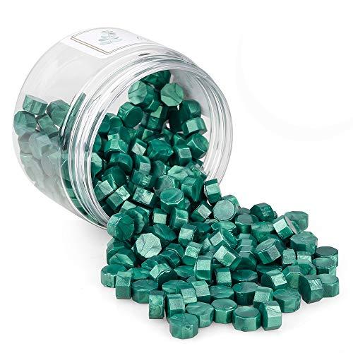 Sello Lacre, Gobesty 200 Piezas Cera de Sellado Octagonal Perlas de Cera de Sellado Sellos de Cera Sello Cera para Sellar y Decorar Cartas e Invitaciones (Verde)